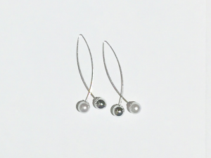 Minimal Cross Ball Earrings Silver 6 earrings