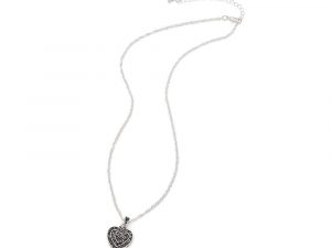 Silver Heart Cubic Zirconia Pendant Necklace 8 zirconia