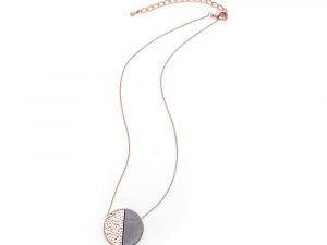 Rose Gold and Grey Circle Pendant Necklace 20 rose gold
