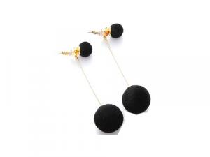 Pom pom Drop Earrings Black