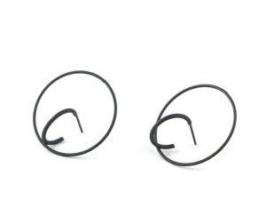 Black Round Geometric Earrings earrings