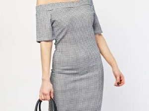 Off The Shoulder Gingham Dress dress