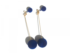 Drop Pom Pom Earrings Blue 6 pom pom