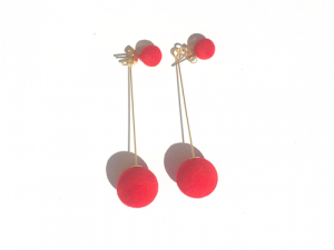 Drop Pom Pom Earrings Red 6 pom pom